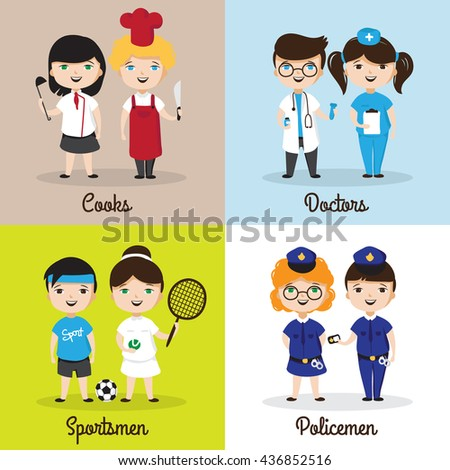 illustrations of cute cartoon kids in different professions. Children future professions design templates