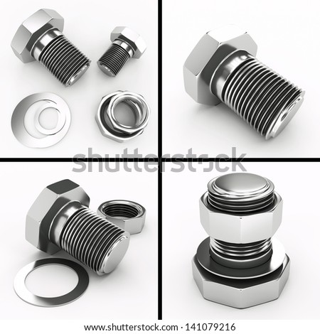 4 images of bolts and nuts - stock photo