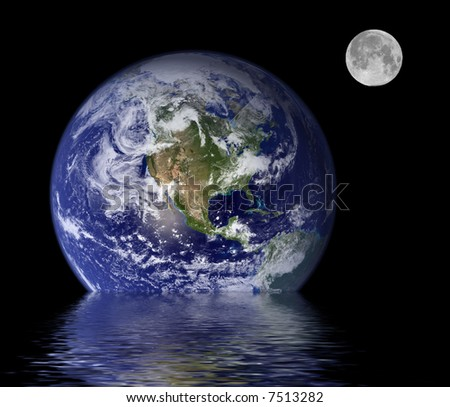 images of earth and full moon - stock photo
