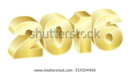 2016 in 3D gold text. New Years concept or relating to anything exciting in 2016. - stock photo