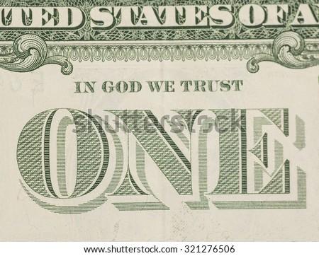 In God We Trust - US one dollar bill closeup macro, 1 usd banknote - stock photo