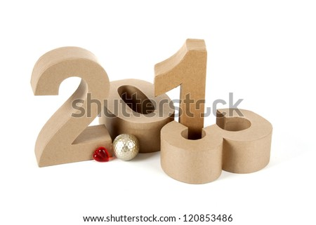 2013 in numbers and a golf ball - stock photo