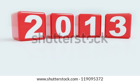 2013 in red cube to created by 3D software