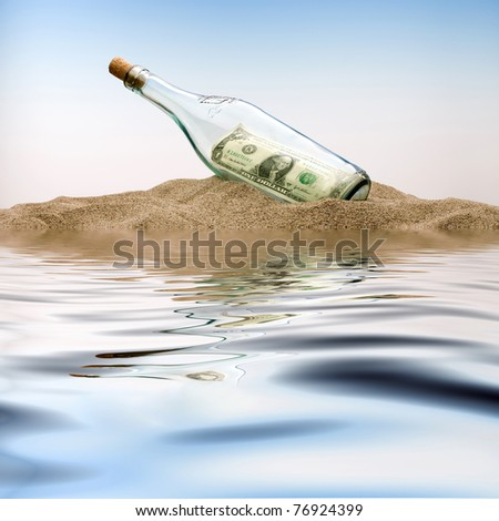 $ 1 in the bottle - stock photo