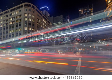 In the evening, the center of Sydney busy traffic flow - stock photo