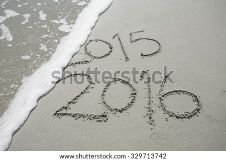 2016 in the Sand at the Beach - stock photo