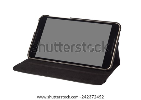 8 inch tablet on a stand isolated on white background  - stock photo