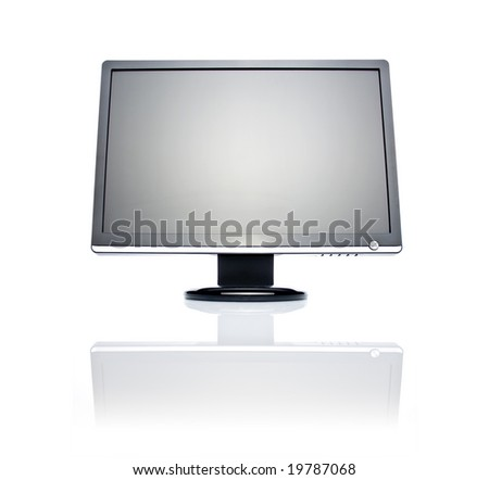 22 inch wide LCD monitor isolated on white - stock photo