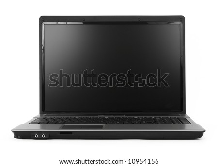 17 inch wide notebook against white background, natural shadow in front, focus set on the screen - stock photo