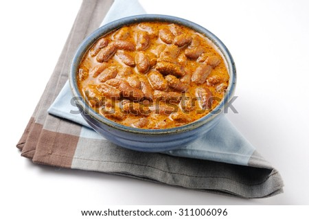 Indian cuisine. Spicy Rajma Masala curry with gravy    - stock photo