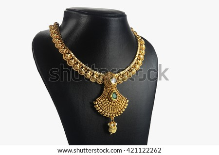 Indian Traditional Gold Necklace  - stock photo