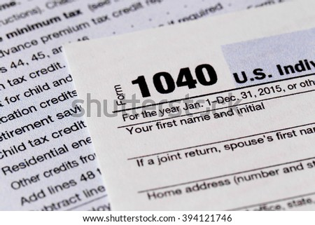 1040 Individual Income Tax Return Form for 2015 year, close up
