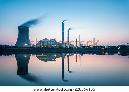 industry landscape , coal fired power plant in nightfall  - stock photo
