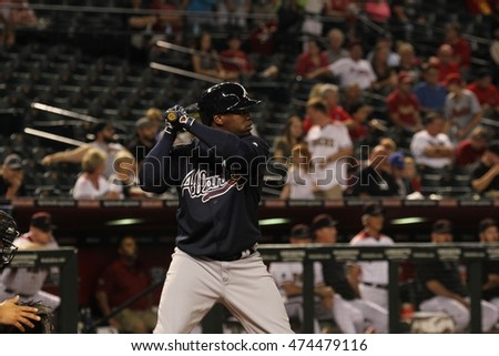 infielder for the Atlanta Braves at Chase Field in Phoenix AZ USA 8,24,16.