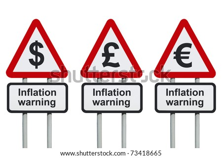 Inflation warning road sign, isolated on a white background - stock photo