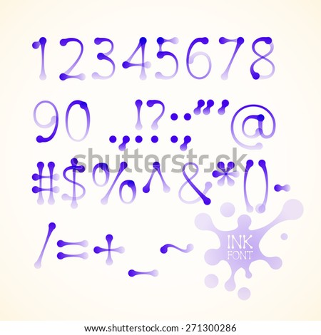 ink drawn numbers and symbols. . Transparency used. RGB. Global colors. Gradients used - stock photo