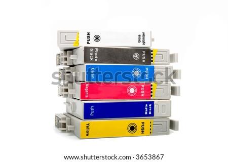 Inkjet cartridge on white background - stock photo