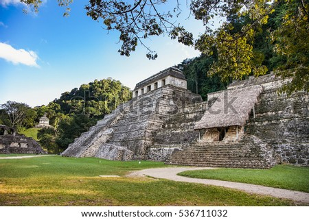 Inscriptions Temple in the ruins of the ancient Mayan city, Palenque- Chiapas, Mexico
