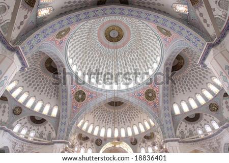 Inside of Kocatepe Mosque in Ankara  - Domes detail - stock photo