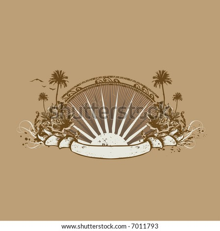 insignia and banner. Surice on the tropical ocean coast. Grunge style - stock photo