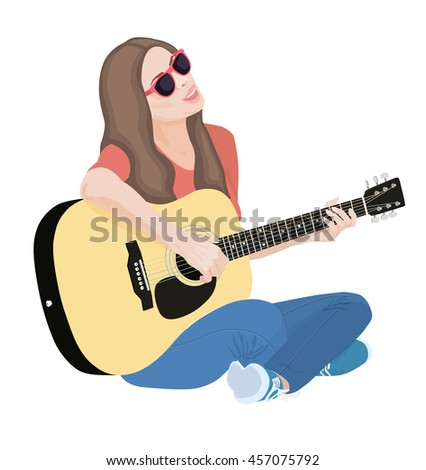 instrumentalist; isolated; acoustic; guitar; - stock photo