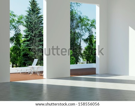 Interior design, modern architecture, new empty house. - stock photo
