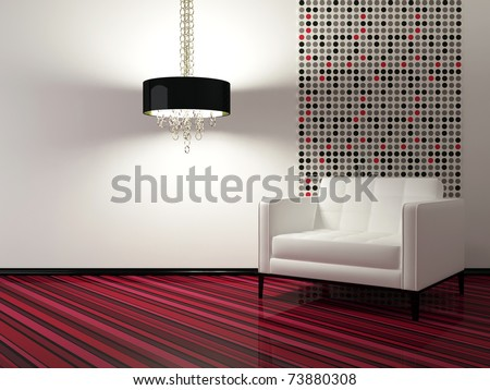 interior design of modern living room with white armchair, 3d render - stock photo