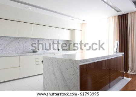 interior of bright kitchen - stock photo