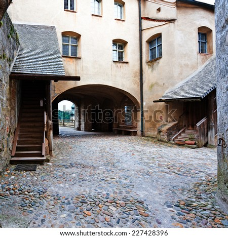 Interior of the Fortress in the Bavarian Town of Burghausen - stock photo