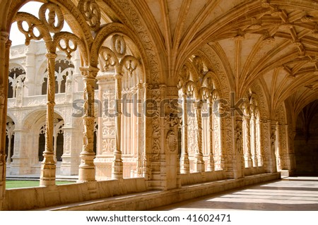 Interior view of the Mosteiro Dos Jeronimos, Lisbon, Portugal - stock photo