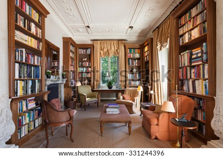Interiors, classical library in a period mansion  - stock photo