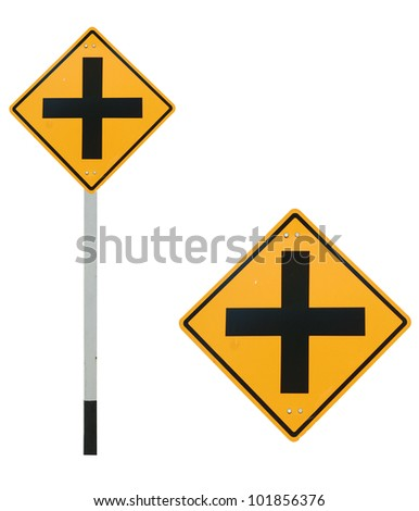 4 intersection traffic sign - stock photo