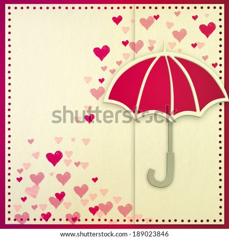 Invitation/greeting card with umbrella and hearts