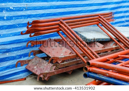 iron pipe of scaffold. - stock photo