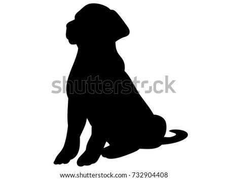 isolated black silhouette of a dog sitting