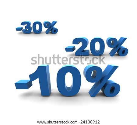 10-20-30% - isolated 3D render illustration - stock photo