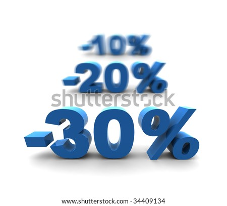 30-20-10% - isolated 3D render illustration with shallow dof - stock photo
