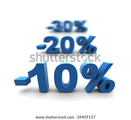 10-20-30% - isolated 3D render illustration with shallow dof - stock photo