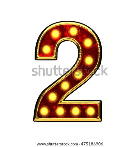 2 isolated golden letter with lights on white. 3d illustration