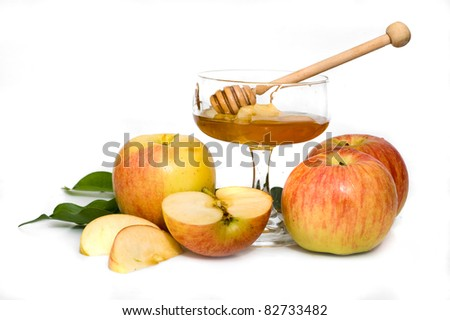 isolated honey with apple for Rosh Hashanah – jewish new year - stock photo
