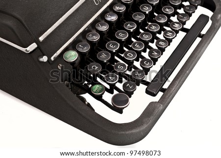 isolated old vintage typewriter - stock photo