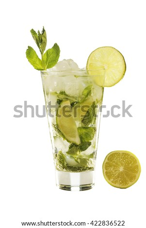 Isolated on white background detox in a glass. Mojito or homemade lemonade.
