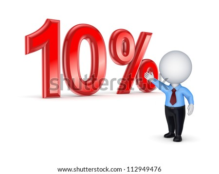 10%.Isolated on white.3d rendered. - stock photo