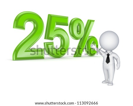 25%.Isolated on white.3d rendered. - stock photo