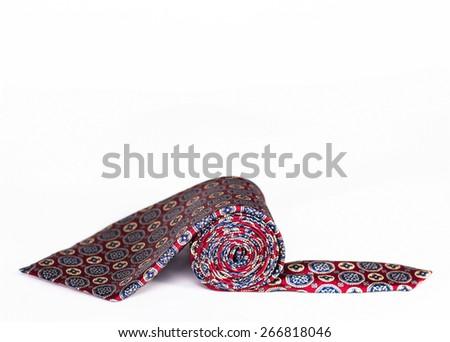 isolated silk tie roll - stock photo