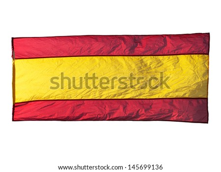 Isolated Spanish flag in the wind