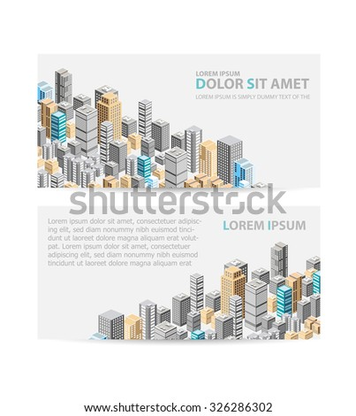 isometric city center on the map with a large number of buildings, skyscrapers - stock photo