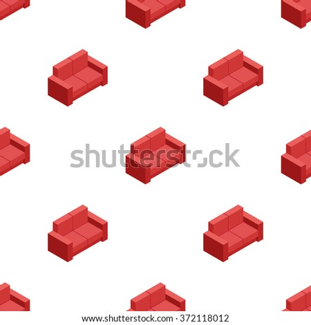 isometric red sofa seamless pattern. Furniture background - stock photo