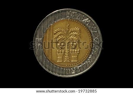 Israeli coins- 10 Shekels isolated on black - stock photo