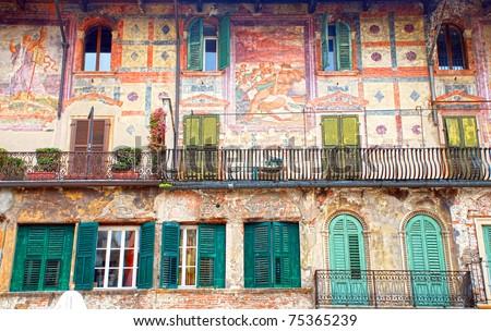 italian medieval wall, Piazza Delle Erbe (Verona, Italy) - stock photo